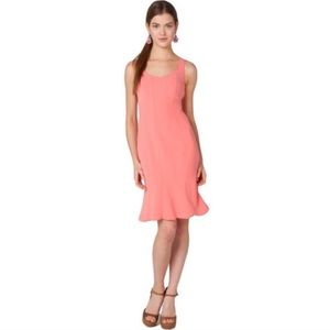 Badgley Mischka Crepe Ruffle Hem Dress in Coral